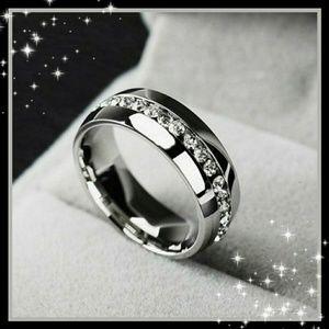 New! Men's Stunning Titanium White Sapphire Ring